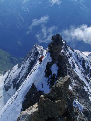 Heading back down the East ridge of the Weisshorn....spectacular!
