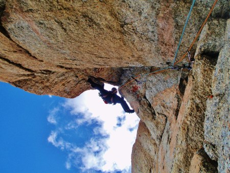 Calum exiting the steep corners on the Capucines Direct