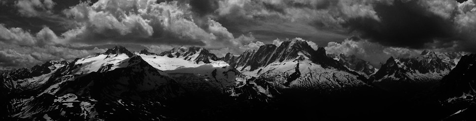 View to Mt Blanc massif from the Perrons traverse