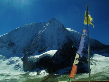 Hippy flags at the Dix hut and Mt Blanc de Cheilion N Face
