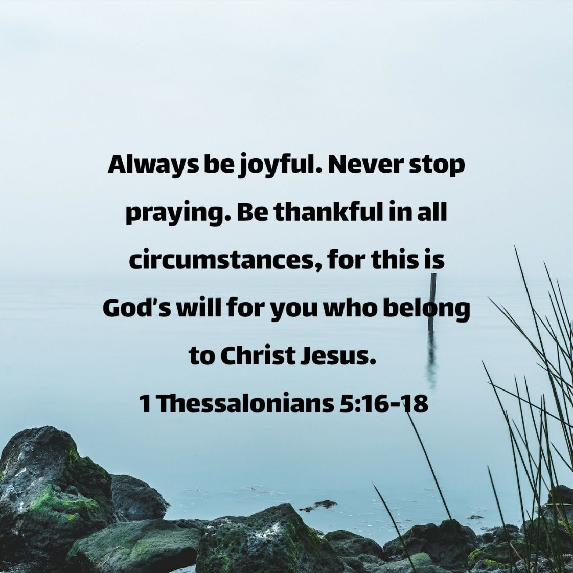 Always be joyful. Never stop praying. Be thankful in all circumstances, for this is God's will for you who belong to Christ Jesus. - 1 Thessalonians 5:16-18 NLT