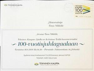 Kutsu TKL 100-vuotisjuhlagaalaan