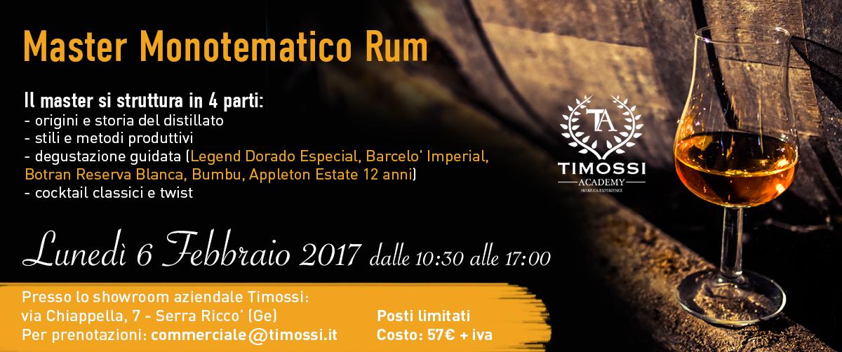 6 Febbraio 2017 – Master Monotematico Rum