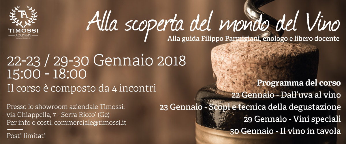 22/23 – 29/30 Gen 2018 – Alla scoperta del mondo del Vino