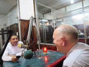 With Roberto Alvarez at Radio Progreso