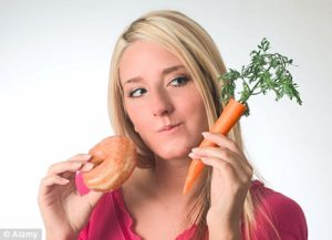 Self control woman choosing between sweets and vegetables