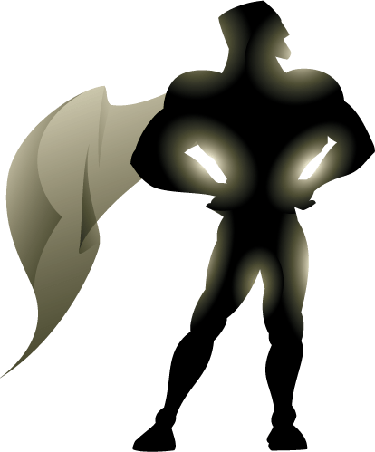 superhero silhouette with cape