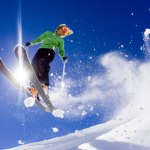 A skier jumping in the air