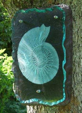 Engraved Glass Slate Garden Art Sculpture Ammonite