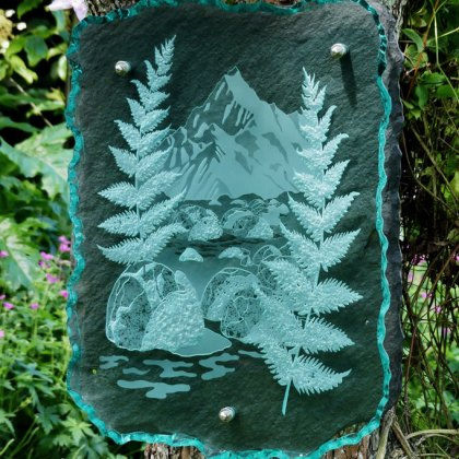 Engraved Glass Slate Garden Art Sculpture Newzealand Tim Carter