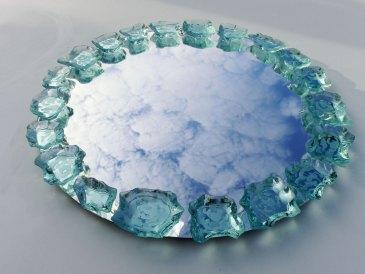 Mirror Round Glass Etched Sculpture