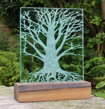 Large Engraved Glass Tree Light