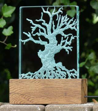 Engraved Tree Glass Light