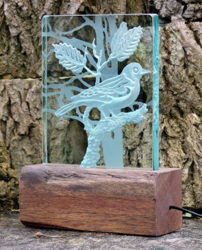 Tree Branch Bird Engraved Glass Light