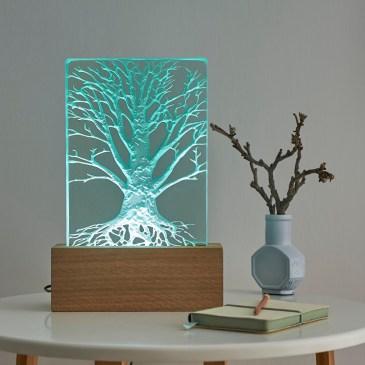 Engraved Sandblasted Glass Tree Table Light