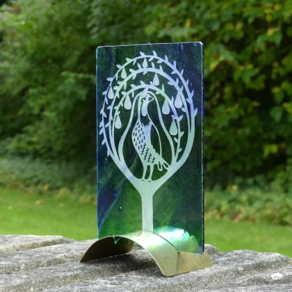 Engraved pear tree on blue green glass by Tim Carter