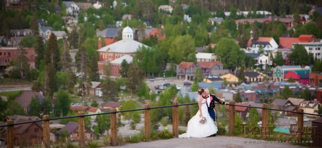 Bride and groom above historic Breckenridge, Colorado