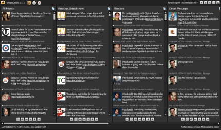 Screen shot of Tweet Deck.