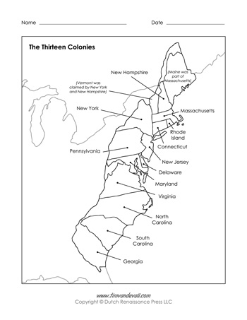 Free Printable 13 Colonies Map Pdf Labeled Blank Map
