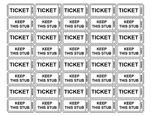 photograph relating to Printable Raffle Tickets called Raffle Ticket Templates - Tims Printables