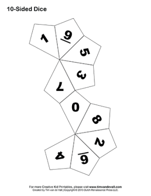 printable 10-sided dice