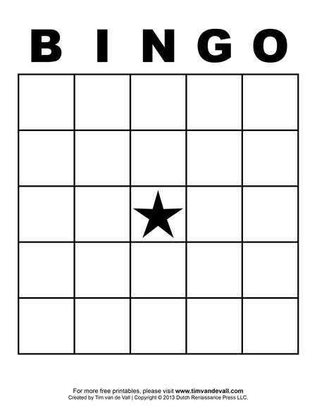 Printable Bingo Card Template