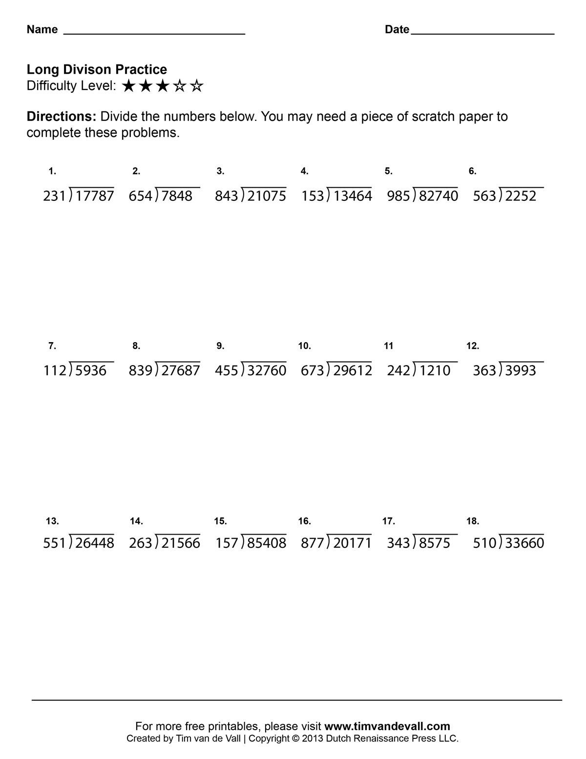 Long Division Worksheets Printable Fourth Grade Math Worksheets