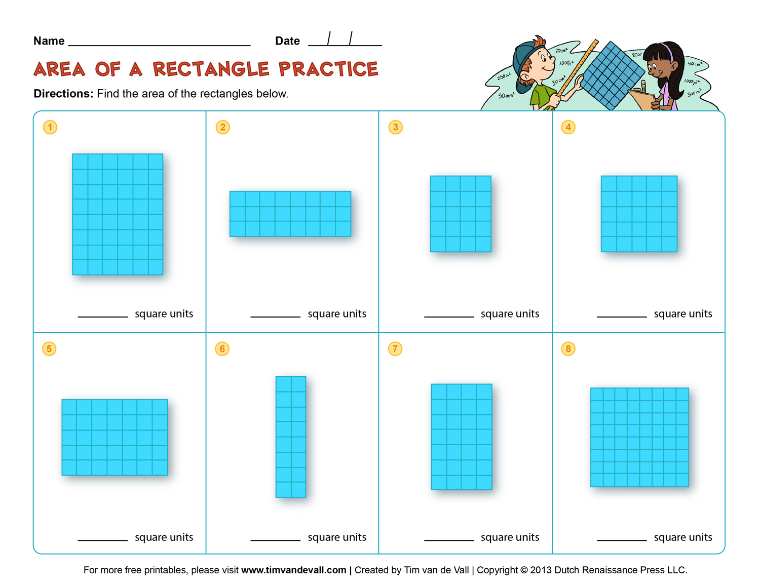 Area And Perimeter Worksheets Third Grade Math Worksheets