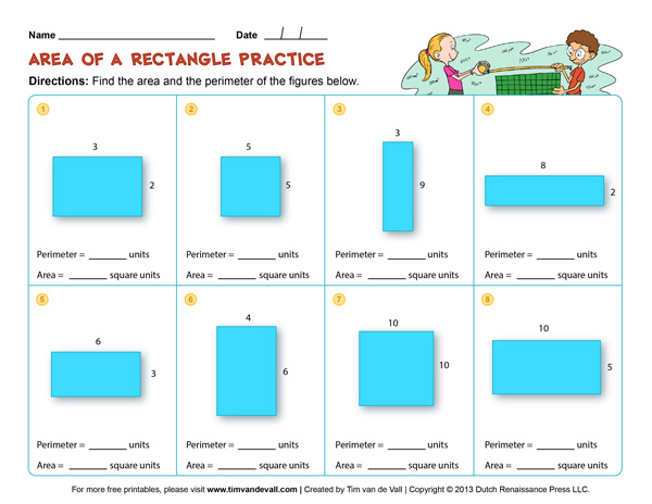 Area and Perimeter Worksheets for Third Grade