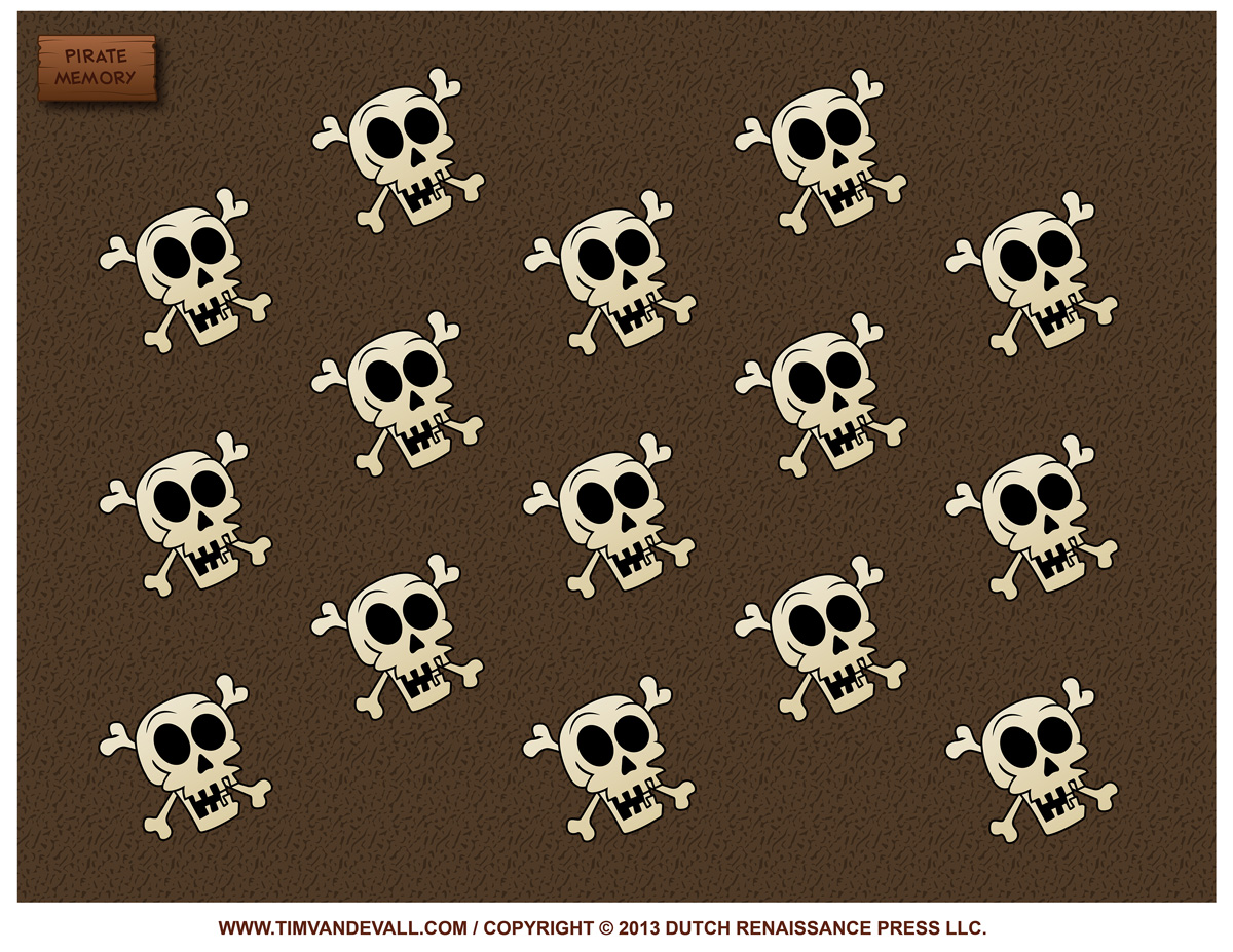 Free Printable Memory Game For Kids Featuring Pirates