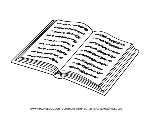 black and white open book clip art