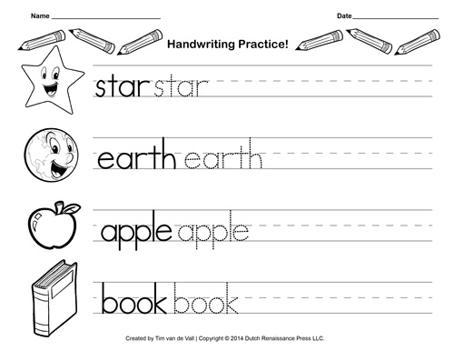 Handwriting Practice Template. free kindergarten writing ...
