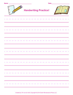 Pink Handwriting Paper for Girls