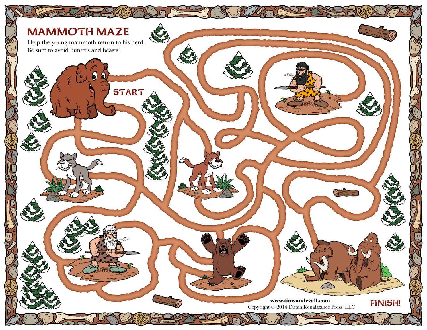 Woolly Mammoth Maze For Kids