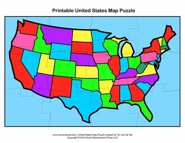 Printable USA Map Puzzle