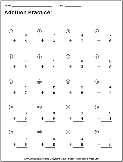 Simple Addition Worksheet