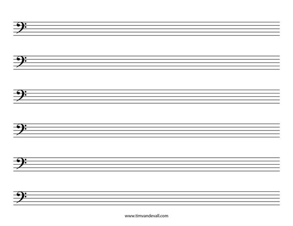blank bass clef staff paper