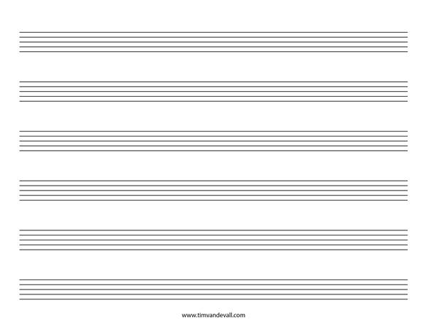 Blank Music Staff Paper PDF
