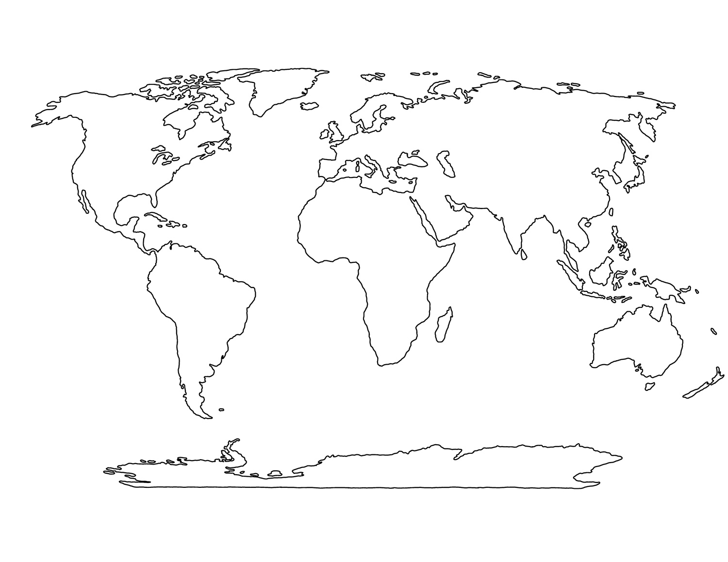 Printable Blank World Map Template For Students And Kids