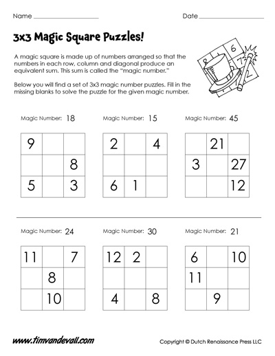 3x3 magic square worksheet for kids