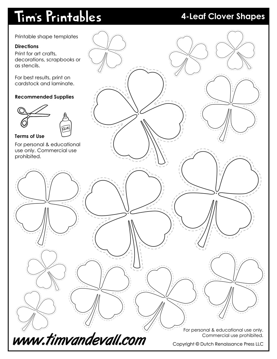 It is an image of Four Leaf Clover Printable Template throughout pinterest