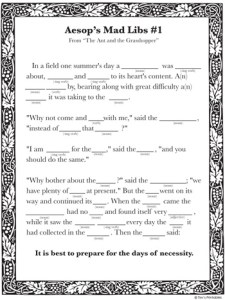 Aesop's Fables Mad Libs PDF