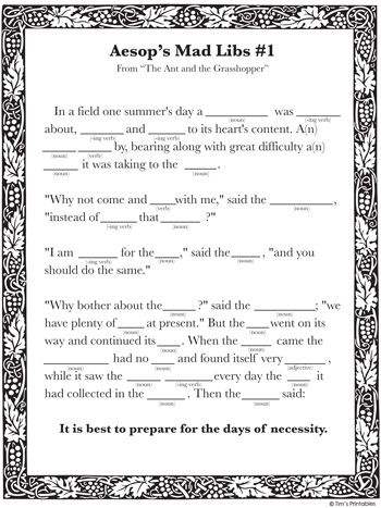 printable mad libs