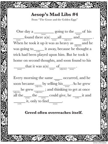 printable mad lib