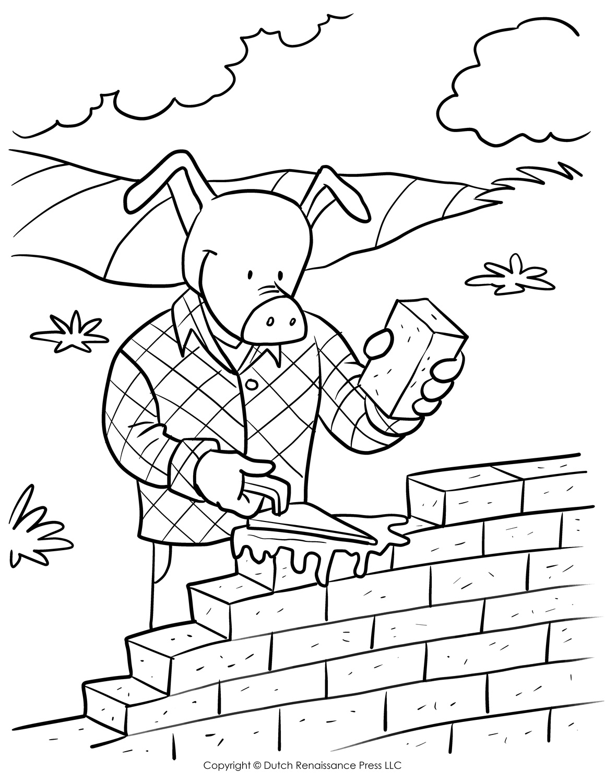 Brick Pig Coloring Page