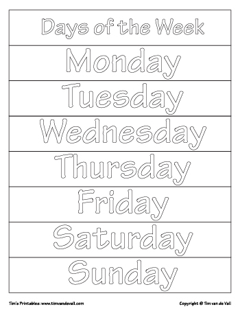 Days Of The Week Printables Tim S Printables