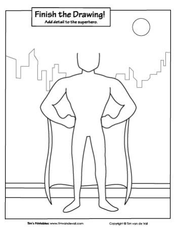 superhero finish the drawing