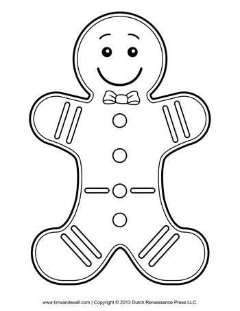 Free Printable Gingerbread Man Coloring Pages For Kids | 453x350