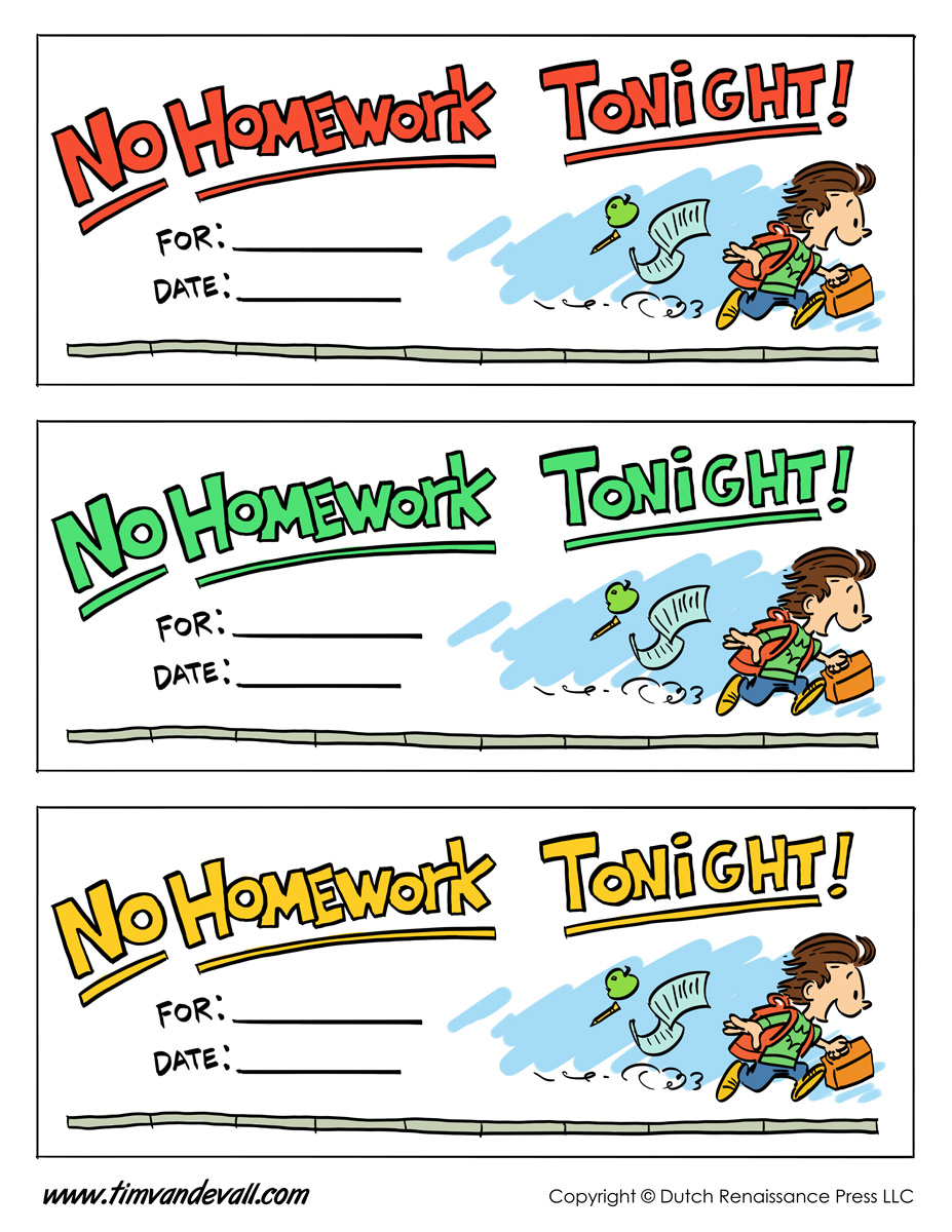 Homework Pass Template Tims Printables