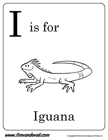 I is for Iguana Letter I Coloring Page